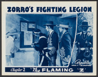 "Zorro's Fighting Legion (Republic, 1939). Lobby Card (11"" X 14""). Chapter 2 -- ""The Flaming 'Z'."" Se..."