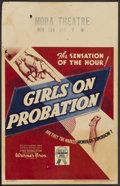 "Movie Posters:Crime, Girls on Probation (Warner Brothers, 1938). Window Card (14"" X22""). Crime...."