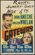 "Movie Posters:Adventure, Gateway (20th Century Fox, 1938). Window Card (14"" X 22"").Adventure...."