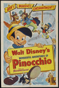 "Movie Posters:Animated, Pinocchio (RKO, R-1954). One Sheet (27"" X 41""). Animated...."