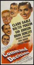 "Movie Posters:War, Command Decision (MGM, 1948). Three Sheet (41"" X 81""). War...."