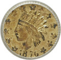 California Fractional Gold: , 1876 25C Indian Round 25 Cents, BG-851, Low R.7, MS62 ICG. NGCCensus: (0/1). PCGS Population (2/9). (#10712). From The...