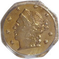California Fractional Gold: , 1859 25C Liberty Octagonal 25 Cents, BG-702, R.3, MS64 PCGS. PCGSPopulation (71/17). NGC Census: (5/21). (#10529). Fro...