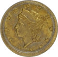 California Fractional Gold: , 1856 25C Liberty Round 25 Cents, BG-230, Low R.4, MS62 PCGS. PCGSPopulation (29/63). NGC Census: (2/8). (#10415). From...