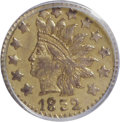 California Fractional Gold: , 1852 50C Indian Round 50 Cents, BG-1076, Low R.6, MS61 PCGS. PCGSPopulation (1/20). (#10905). From ...