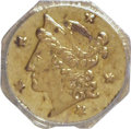 California Fractional Gold: , 1854 25C Liberty Octagonal 25 Cents, BG-105, R.3, MS64 PCGS. PCGSPopulation (63/24). NGC Census: (11/7). (#10374). Fro...