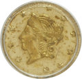 California Fractional Gold: , 1867 50C Liberty Round 50 Cents, BG-1007, High R.4, MS63 PCGS. PCGSPopulation (9/20). NGC Census: (0/1). (#10836). Fro...
