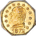 California Fractional Gold, 1872 25C Washington Octagonal 25 Cents, BG-722, Low R.4, MS62PCGS....