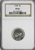 Proof Jefferson Nickels: , 1938 5C PR63 NGC. NGC Census: (31/940). PCGS Population (54/2040).Mintage: 19,365. Numismedia Wsl. Price for NGC/PCGS coin...