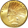 Indian Eagles, 1908 $10 Motto MS65 PCGS. CAC....