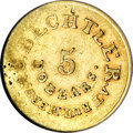 Territorial Gold, (1834-37) $5 C. Bechtler Five Dollar, RUTHERF:--Damaged--NCS. XFDetails....