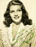 Movie/TV Memorabilia:Autographs and Signed Items, Rita Hayworth Signed Photo....