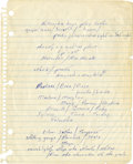 Music Memorabilia:Autographs and Signed Items, Bruce Springsteen Handwritten Unpublished Song Lyrics....
