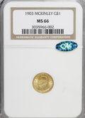 Commemorative Gold: , 1903 G$1 Louisiana Purchase/McKinley MS66 NGC. CAC. NGC Census:(319/90). PCGS Population (432/76). Mintage: 17,500. Numism...