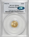 Commemorative Gold: , 1915-S G$1 Panama-Pacific Gold Dollar MS66 PCGS. CAC. PCGSPopulation (716/47). NGC Census: (465/50). Mintage: 15,000. Numi...