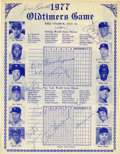 Autographs:Others, 1977 Shea Stadium Old Timers Day Multi-Signed Scorecard....