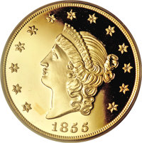 """1855 $50 SSCA Relic Gold Medal """"1855 Kellogg & Co. Fifty"""" Gem Proof PCGS....(PCGS# 10359)"""
