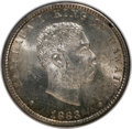 Coins of Hawaii: , 1883 25C Hawaii Quarter MS65 NGC. NGC Census: (120/72). PCGSPopulation (140/90). Mintage: 500,000. (#10987)...