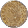 California Fractional Gold: , 1874 25C Indian Round 25 Cents, BG-875, High R.4, MS64 PCGS. PCGSPopulation (33/6). NGC Census: (0/3). (#10736)...