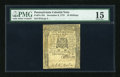 Colonial Notes:Pennsylvania, Pennsylvania December 8, 1775 10s PMG Choice Fine 15....