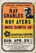 Music Memorabilia:Posters, Ray Charles Towson Center Concert Poster (Concert Productions,1973)....