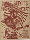 "Music Memorabilia:Posters, Pete Seeger Carnegie Hall In A Benefit Miners Signed Concert Poster(1972) 14.5"" x 18""...."