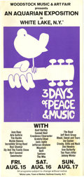 Music Memorabilia:Posters, Woodstock Festival Flyer (Woodstock Music and Art Fair, 1969)....