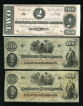 Confederate Notes:Group Lots, $202 worth of Confederate.. ... (Total: 3 notes)