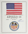 Explorers:Space Exploration, Apollo 16 Lunar Module Flown American Flag Signed by and from thePersonal Collection of Mission Lunar Module Pilot Charlie Du...