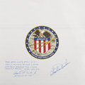 Explorers:Space Exploration, Apollo 16 Lunar Module Flown Beta Cloth Mission Insignia Signed by and from the Personal Collection of Mission Lunar Module Pi...