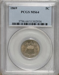 Shield Nickels: , 1869 5C MS64 PCGS. PCGS Population (121/55). NGC Census: (126/99).Mintage: 16,395,000. Numismedia Wsl. Price for NGC/PCGS ...