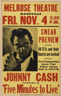 Music Memorabilia:Posters, Johnny Cash Five Minutes to Live Melrose Theatre NashvilleMovie Poster (1961)....