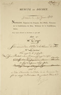 "Autographs:Non-American, Napoleon Bonaparte Signed Document, ""Napoleon"", one page, 8""x 12"", partially printed, Dresden, June 21, 1813, in French..."