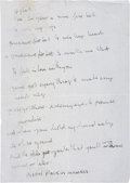 "Music Memorabilia:Autographs and Signed Items, Beatles Related - Stuart Sutcliffe Handwritten ""Sure Fire Bet""Lyrics...."