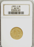 Liberty Half Eagles, 1892-O $5 AU58 NGC....