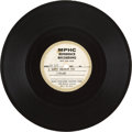 "Music Memorabilia:Recordings, Bob Dylan ""I Don't Believe You"" Acetate (MPHC Reference Recording,1964)...."