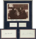Movie/TV Memorabilia:Autographs and Signed Items, Woman in the Window Lobby Card Framed with Edward G.Robinson and Joan Bennett Autographs (1944)....