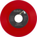 "Music Memorabilia:Recordings, Elvis Presley ""Moody Blue"" Red Vinyl 45 (RCA 10857, 1977)...."