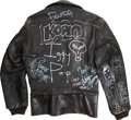 Music Memorabilia:Autographs and Signed Items, Iggy Pop and Others Signed Leather Jacket....