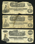 Confederate Notes:1862 Issues, 3 - $100 1862 Train Notes.. ... (Total: 3 notes)