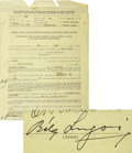 Movie/TV Memorabilia:Autographs and Signed Items, Bela Lugosi Signed Contract....