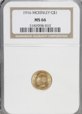 Commemorative Gold: , 1916 G$1 McKinley MS66 NGC. NGC Census: (330/66). PCGS Population(583/57). Mintage: 9,977. Numismedia Wsl. Price for NGC/P...