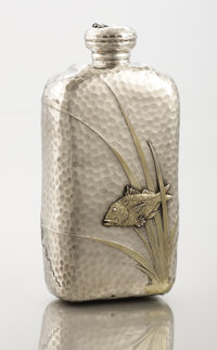 AN AMERICAN SILVER AND SILVER GILT FLASK Tiffany & Co., New York, New York, circa 1881 Marks: TIFFANY & CO