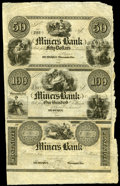 Obsoletes By State:Iowa, Dubuque, Wis. Terr.- Miners Bank $50-$100-Post Note X2 Oakes 57-5, 57-6, 57-7 Uncut Sheet . ...