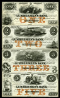 Obsoletes By State:Iowa, Dubuque, IA- Lumbermen's Bank (E.L. Fuller) $1-$2-$3-$5 Sept. 1,1857 Oakes 55-1a-55-2a-55-3a-55-4a Uncut Sheet. ...