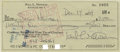 Movie/TV Memorabilia:Autographs and Signed Items, Paul Newman Signed Check with Photo (1969). ...