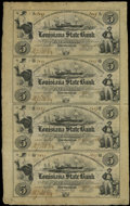 Obsoletes By State:Louisiana, New Orleans, LA- The Louisiana State Bank $5-$5-$5-$5 G14a-G14a-G14a-G14a Uncut Sheet . ...