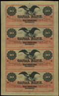 Obsoletes By State:Louisiana, New Orleans, LA- Canal Bank $10-$10-$10-$10 G26a-G26a-G26a-G26a Uncut Sheet. ...