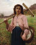 Paintings, FRANÇOIS ALFRED DELOBBE (French, 1835-1915). Return from the Fields. Oil on canvas. 39-1/2 x 32 inches (100.3 x 81.3 cm)...