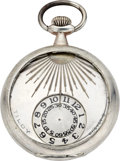Timepieces:Pocket (post 1900), Swiss Early Silver Digital Dial Pocket Watch, circa 1905. ...
